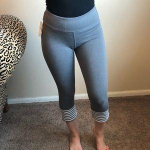 SPLENDID gray and white striped workout capris NWT